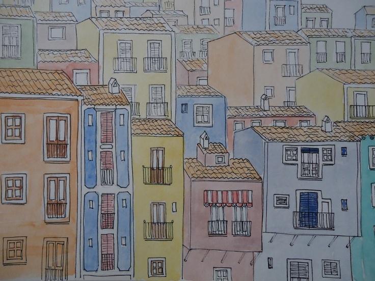 Acuarela. Casas de Villajoyosa.  mlaborel.blogspot.com.es