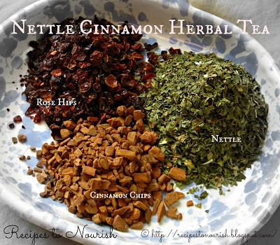 Recipes to Nourish: Nettle Cinnamon Herbal Tea Infusion (Iron + Vitamin C Tea)