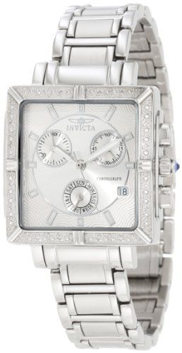 2. Invicta Women's 5377 Square Angel Diamond Stainless Steel Chronograph Watch
