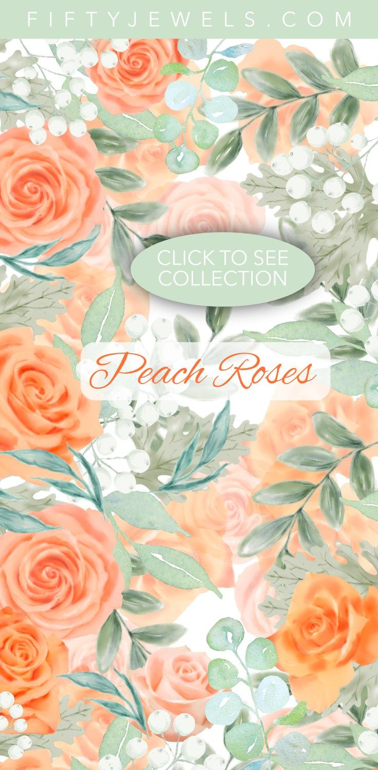 Watercolor Clip Art | Watercolor Flowers | Peach Roses | Lovely peach roses come together with leafy elements to create this beautiful collection perfect for your next creative project. Click to see the entire bouquet! #watercolor #clipart #flowers #peach #roses