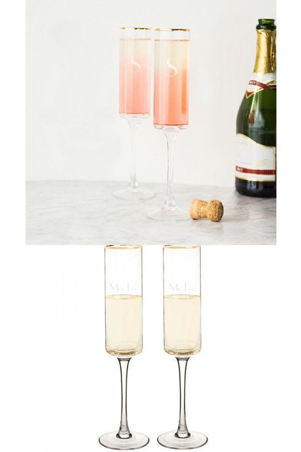 6465db0278c5 Personalized Gold Rim Wedding Champagne Flutes - These contemporary champagne  flutes feature a cylinder shaped bell that is rimmed with gold, a long  elegant ...