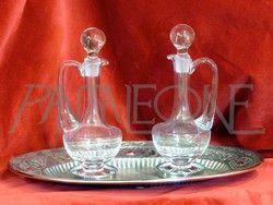 Ampolle in cristallo e vassoio in metallo argentato 464FRD