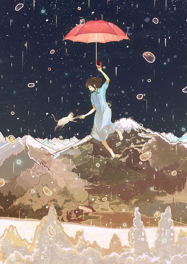 Tags: Anime, Rain, River, Floating, Mountains, Blue Dress, Sidelocks