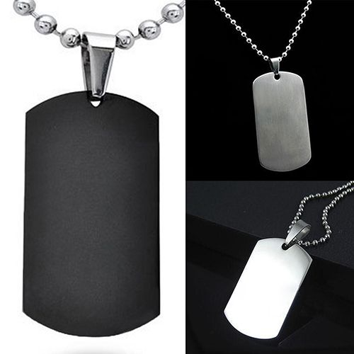 Hot sale! New Fashion Men's Women's Punk Fashion 316L Stainless Steel Polished Rectangular Dog Tag Necklace AIRK