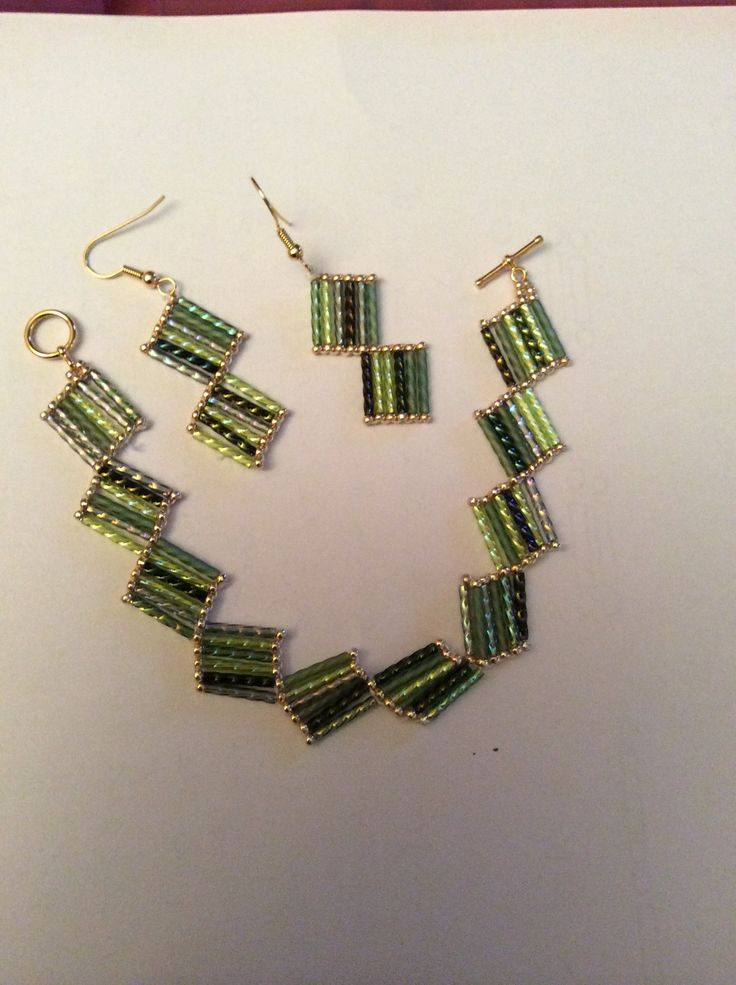 Bugle bead bracelet and earrings
