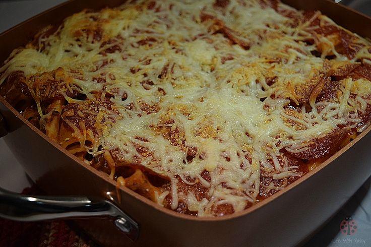 Pepperoni and Riggitoni in the deep dish Copper Chef pan