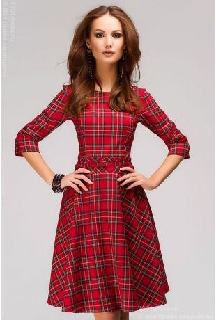 """Красное клетчатое платье с принтом """"шотландская клетка"""" и пышной юбкой"""