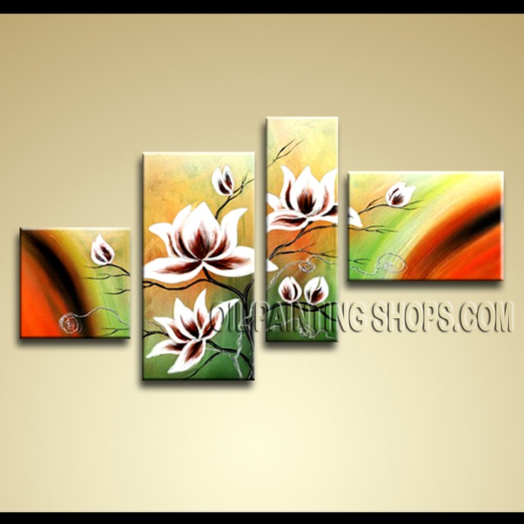 4 Pieces Contemporary Wall Art Floral Painting Tulip Flowers Artwork ...