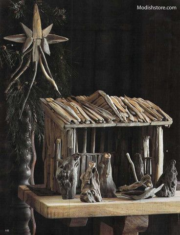 This beautiful unique Driftwood Nativity Set can be displayed in any room. Irregular pieces of driftwood, prized for their character, are selected to create a tableau that has the appeal of a found ob