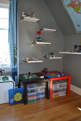 More Lego storage ideas:  thanks Ikea $10 LACK tables and EKBY BJÄRNUM Shelves).