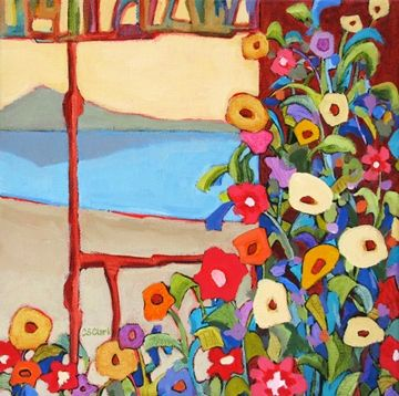 Lakeside Floral, contemporary floral landscape painting, painting by artist Carolee Clark