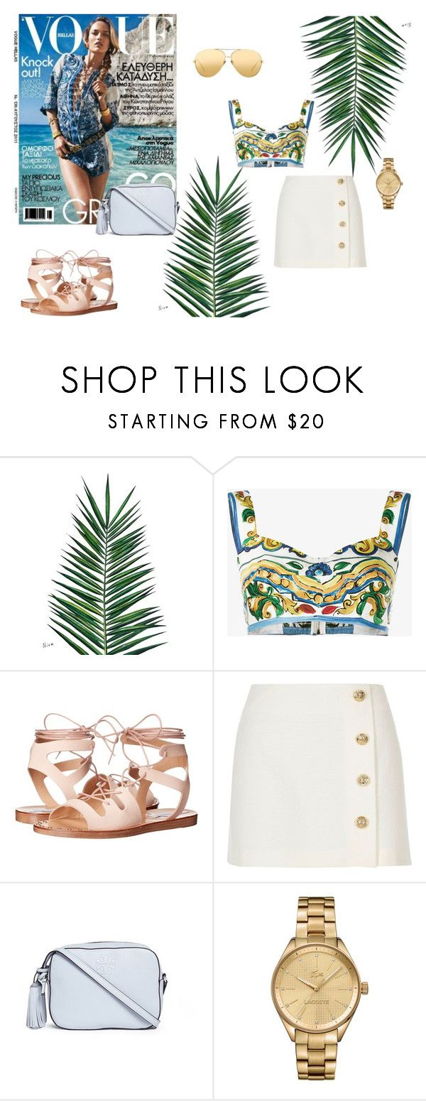 """santorini is always a good idea"" by valentinacabarcasgs-1 on Polyvore featuring moda, Nika, Dolce&Gabbana, Steve Madden, River Island, Tory Burch, Lacoste y Linda Farrow"