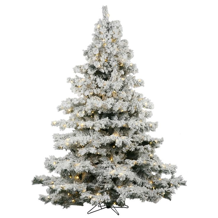 $559   Vickerman Co. Flocked Alaskan 7.5' White Artificial Christmas Tree with 900 Dura-Lit Clear Lights with Stand