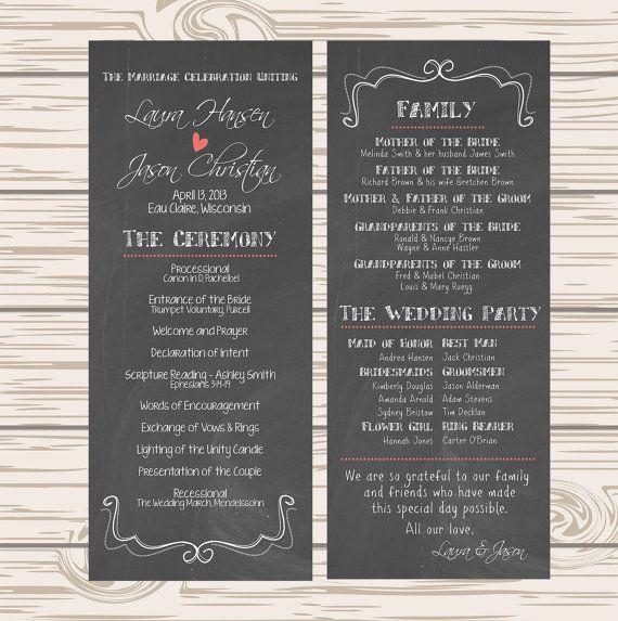 DIY Printable - Wedding Program Chalkboard $35 pick color for heart & dots