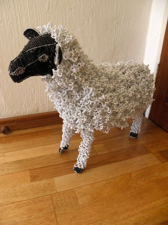 African Beaded Wire Animal Sculpture - SHEEP - White Woolly w/ Black Head by Hadeda on Etsy