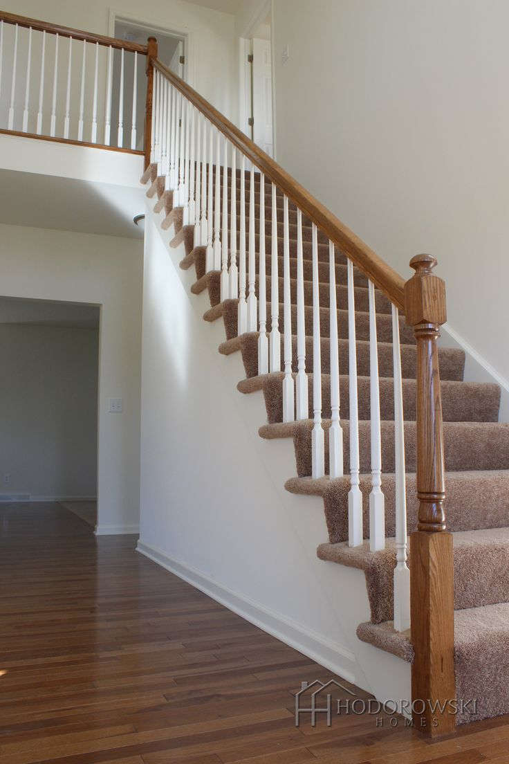Best Hickory Suede Hardwood With Matching Newel Post White 400 x 300