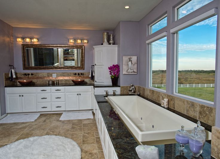 Amazing master bathroom.  Infinity flow jetted bathtub with water that comes from the ceiling.  Copper dual vanity sinks.  Tiled large walk in master shower