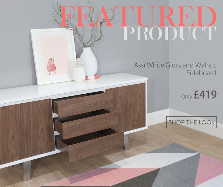 The Assi White Gloss and Walnut Sideboard is a great way to use colours and textures to create a mid-century modern look in your home.