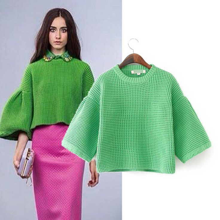 Solid Pullovers Womens Sweaters Long Flare Sleeve Round Neck Green Rose Red Woman Knitwear Autumn Winter 2014 New Ladies Coats