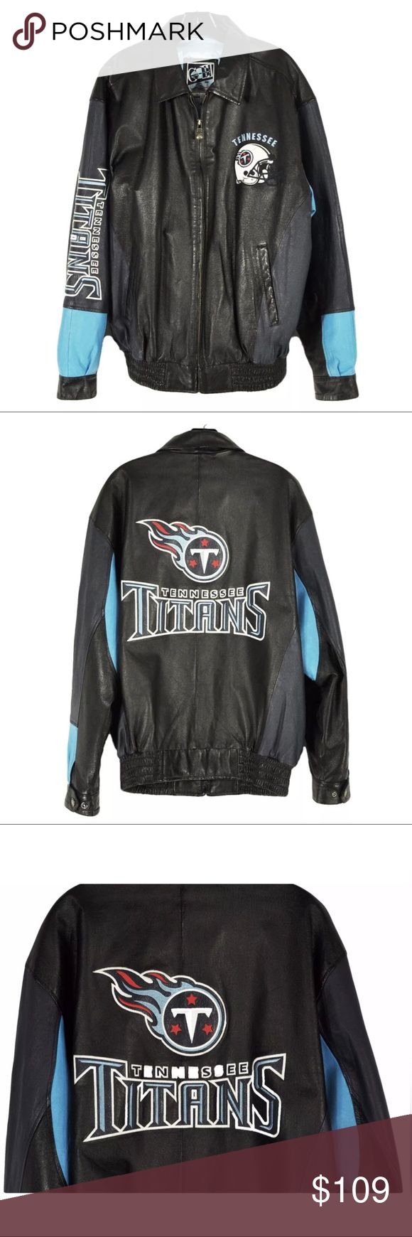 """Tennessee Titans Football G-III Carl Banks Leather Tennessee Titans NFL Tennessee Titans Leather Jacket by G-III & Carl Banks Pre-owned, Very Good condition with a small ~1/2"""" scratch in leather on the back, right side near waist. Please see photos. Details Navy blue with Tennessee Titans team  Elasticized waist  Shell: 100% Leather, Lining: 100% Polyester, Filler: 100% Polyester Approximate Measurements Shoulder to Shoulder: 22.5"""", Underarm to Underarm: 27"""", Sleeve Length: 22.25""""…"""