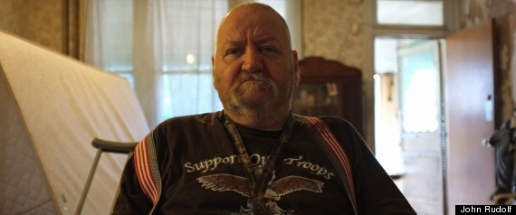 """Disabeled vet, 47 percenter: John Hoskins is not proud of his dependence on government. He scrapes by on a $900 monthly check from the Veterans Administration and $16 in food stamps. Sometimes he struggles just to pay his utilities and keep food in the fridge. Hoskins, 67, enlisted in the Army where he fought in combat in Vietnam. He is now disabled and confined to a wheelchair. """"I guess I'm one of the leeches on the system,"""" he said. """"But look at me. What can I do?"""""""