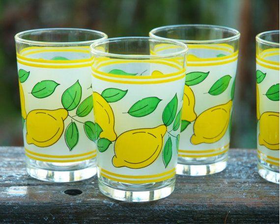 Vintage Glasses with Lemon Motif Lemon Glasses by PattyMora SOLD!