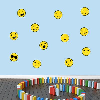 SweetumsWallDecals Emoji Smiley Faces Wall Decal Size: Small