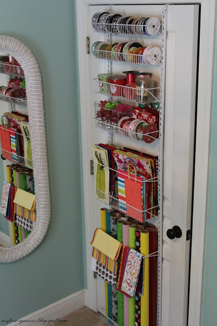 Easily create a holiday giftwrap station with ClosetMaid's 8-Tier Adjustable Door Rack.