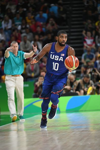 #RIO2016 Kyrie Irving of the USA Basketball Men's National Team drives to the basket against Australia on Day 5 of the Rio 2016 Olympic Games on August 10... #ad
