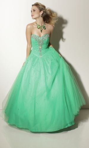 Ball Gown Long/Floor-length Beading Lace-up Turquoise Prom Dress PD30D4