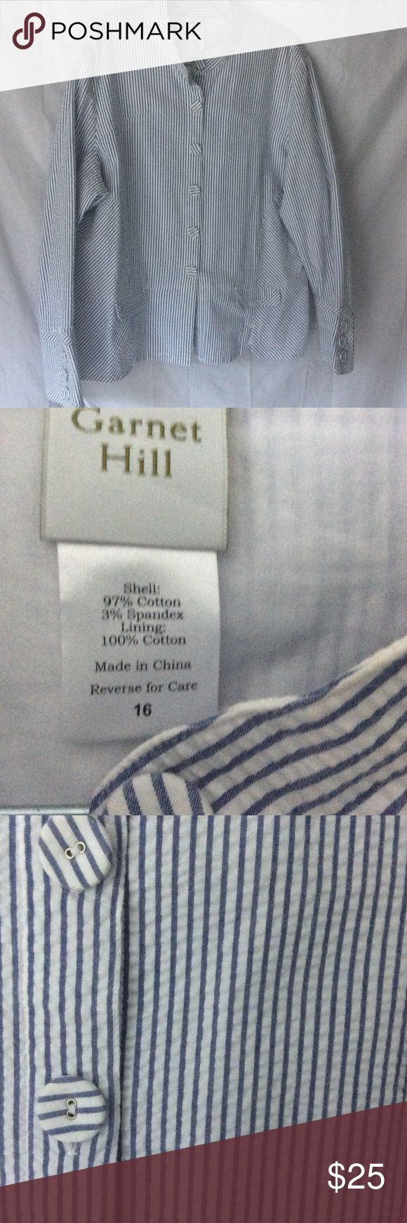 Garnet Hill seersucker blazer size 16 LN White and blue pinstriped seersucker blazer. Like new. Garnet Hill slight stretch size 16 garnet hill Jackets & Coats Blazers