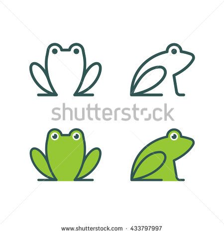 Minimalistic stylized cartoon frog logo. Line icon and colored version, front view and profile. Simple frog or toad vector illustration set.