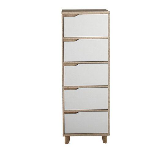 Commodes & Chiffonniers - Chiffonnier 5 tiroirs SCANDINAVIA imitation chêne/blanc