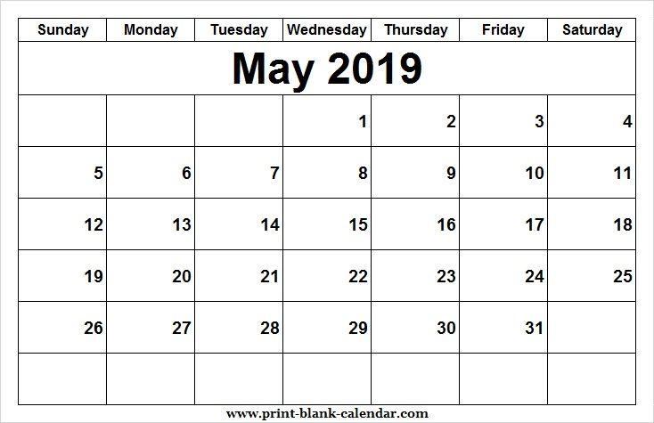 Print Blank May Calendar 2019 June Calendar Printable Printable