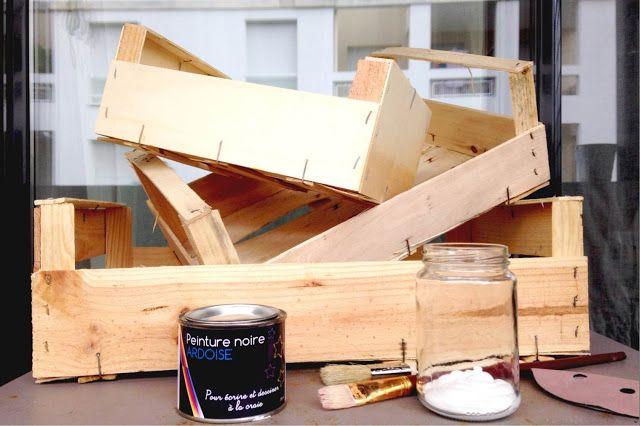 diy r utiliser des cagettes en bois peinture ardoise diy cagette bois cagette et. Black Bedroom Furniture Sets. Home Design Ideas