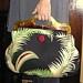 Hawaiian Barkcloth Lucite Handle Vintage Button Handbag. $65.00, via Etsy.