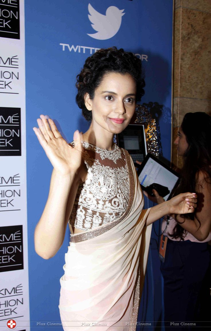 #Kangana Ranaut #Bollywood white embroidery #Saree Georgettel #saree with Heavy Net Blouse Shop now @ http://www.fashion4style.com/woman/clothing/bollywood-replica-saree/kagna-ranavat-bollywood-saree/pid=MTY0