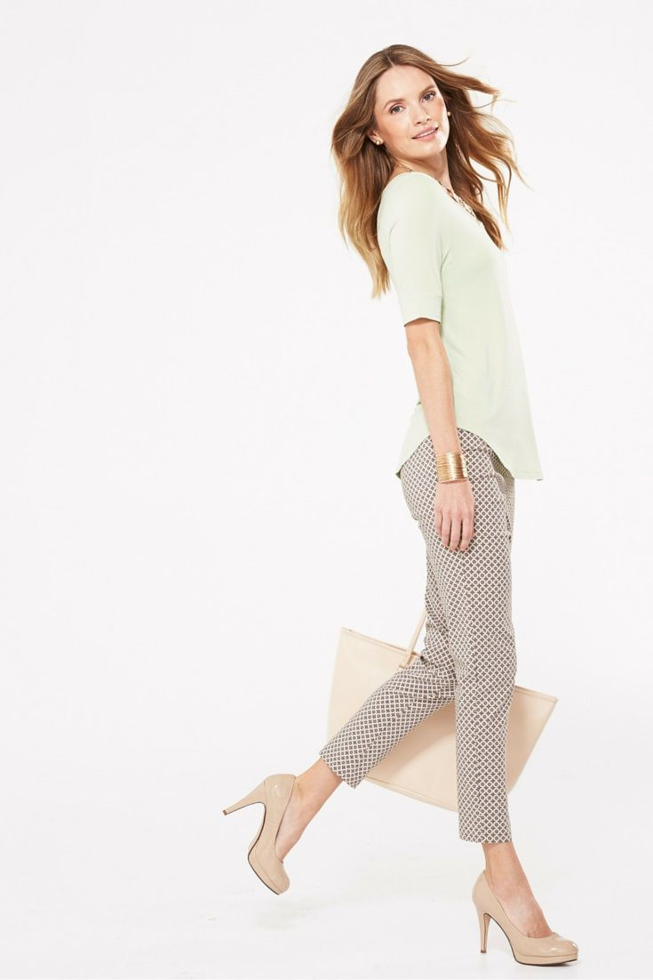 A slim-legged, cropped pant is incredibly flattering when paired with nude heels. Legs = long! #looksforless #pants #womensfashion #spring2016 #fashion