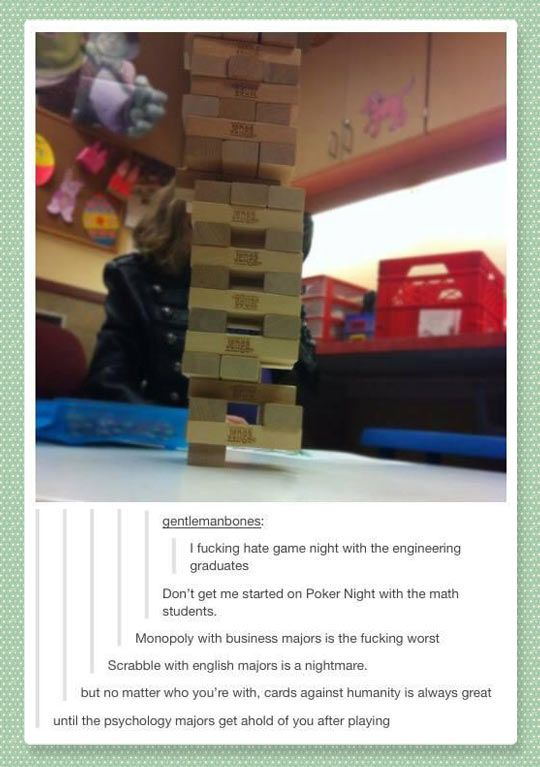 Game night with the engineering graduates…