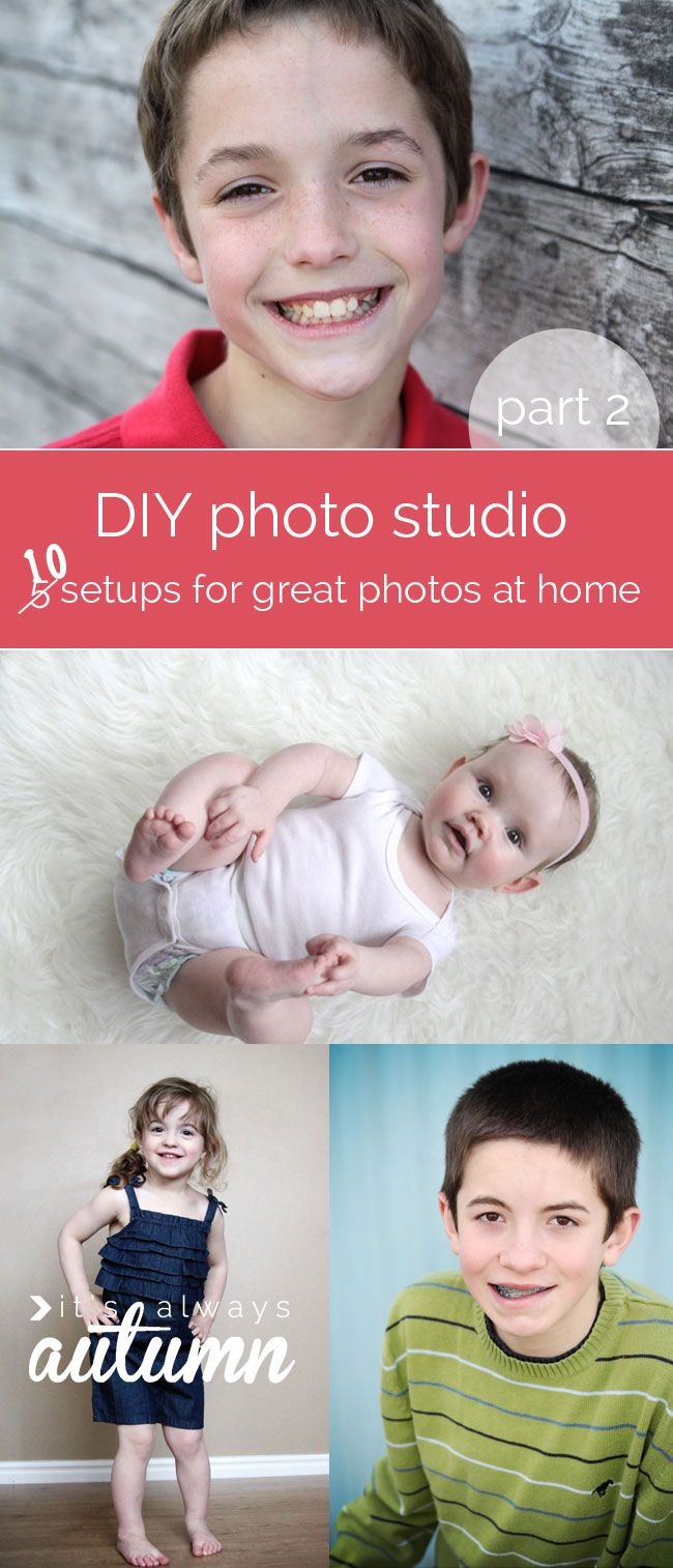 amazing photography post! This shows you how to setup a #DIY #photo #studio in your own home or yard so you can get fantastic pictures of your kids for free. Example photos show you exactly how to set up 10 different #backgrounds.