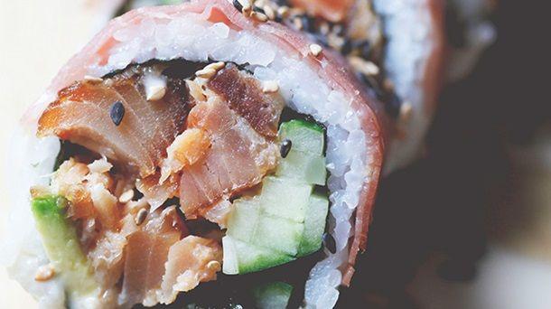 Makis aux pépites de saumon fumé à chaud à l'érable et au prosciutto de Geneviève Everell
