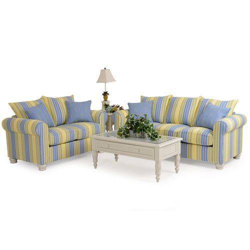Coastal Cottage Striped Queen Sleeper Sofa - Leaders Casual Furniture