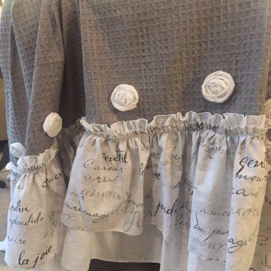 Grey Ruffle Shower Curtain Handmade Shabby Chic Bathroom Curtain