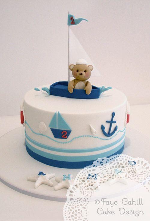 Bear in a sailboat cake