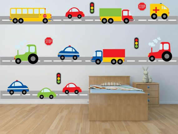 Traffic ahead! This decal set of brightly colored cars, trucks, and tractors is just what you need to fill your little boy's room with fun!