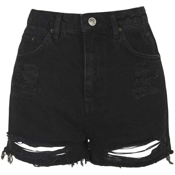 TOPSHOP TALL MOTO Ripped Mom Shorts ($45) ❤ liked on Polyvore featuring shorts, bottoms, washed black, high-waisted jean shorts, distressed jean shorts, black jean shorts, destroyed denim shorts and denim shorts