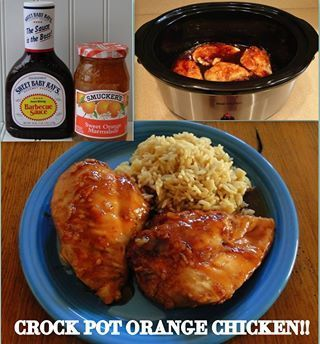 Easy Crock Pot Orange Chicken - Sweet Baby Ray's and orange marmalade?  Yes, please!