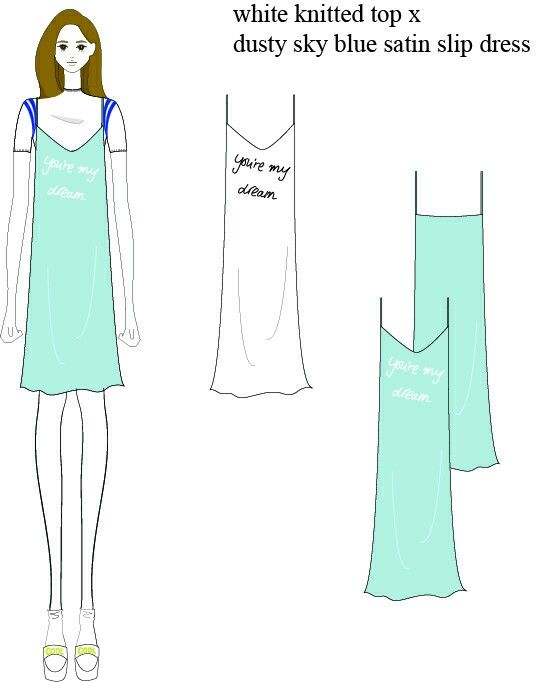 Summer look_white knitted top x dusty sky blue satin slip dress
