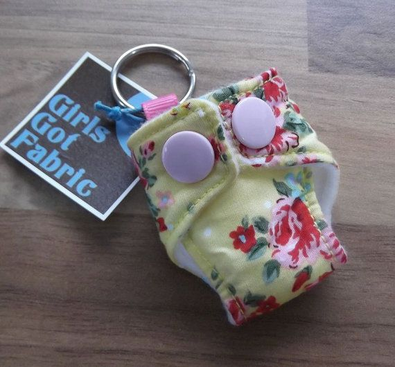 Cloth Diaper Cloth Nappy Mini Keychain Keyring Floral Rosebuds £3