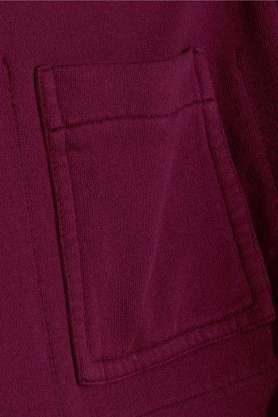 Haider Ackermann - Satin-paneled Cotton-jersey Hooded Sweatshirt - Claret